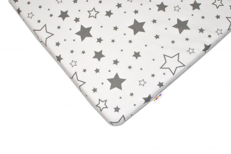 Baby Nellys Bavlněné prostěradlo 60x120 cm - Šedé hvězdy a hvězdičky - bílé