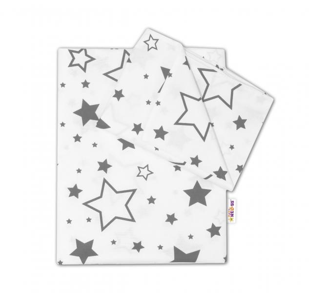 Baby Nellys 2-dílné bavlněné povlečení - Šedé hvězdy a hvězdičky - bílý