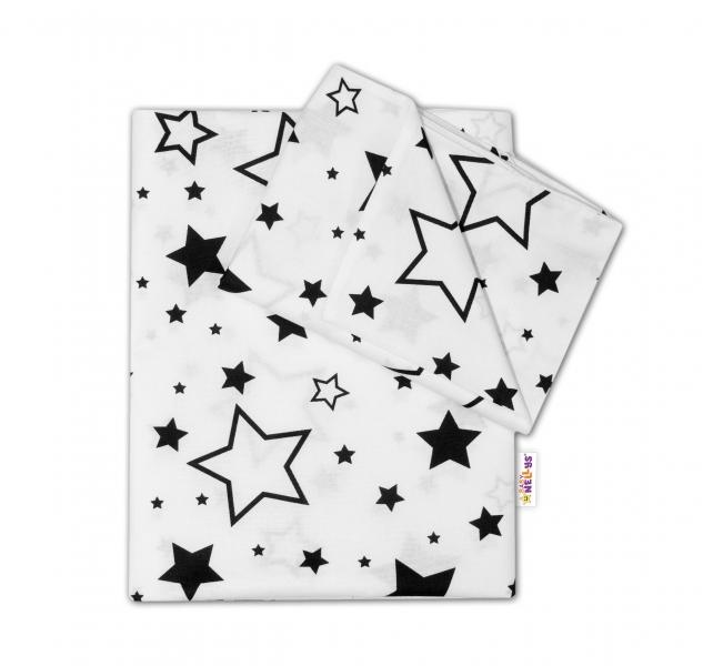 Baby Nellys 2-dílné bavlněné povlečení - Černé hvězdy a hvězdičky - bílý