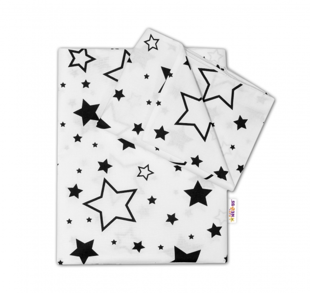 Baby Nellys 2-dílné bavlněné povlečení - Černé hvězdy a hvězdičky - bílý, 135x100 cm