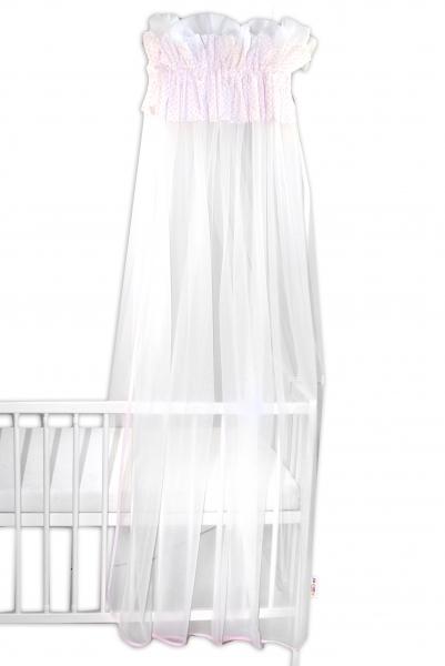 Baby Nellys Luxusní moskytiéra 160x400cm - Medvídek Maxik - bílé, růžové tečky