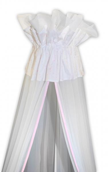 Luxusní moskytiéra 160x400cm - Medvídek Maxik - bílá, růžové hvězdičky