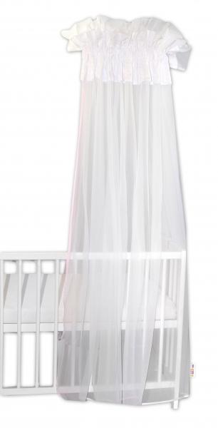 Baby Nellys Luxusní moskytiéra 160x400cm - Medvídek Maxik - bílá, růžové hvězdičky