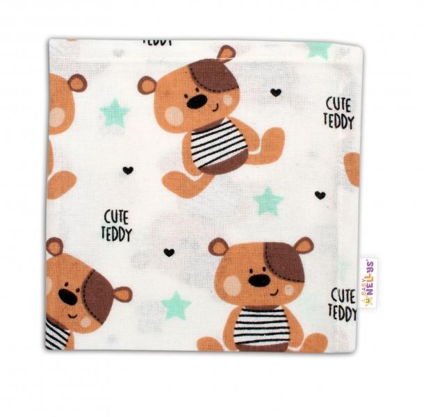 Baby Nellys Mini flanelová plenka - Medvídek hnědý v bílé Cute Teddy