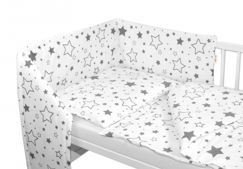 Baby Nellys 3-dílná sada - mantinel s povlečením - Šedé hvězdy a hvězdičky - bílý