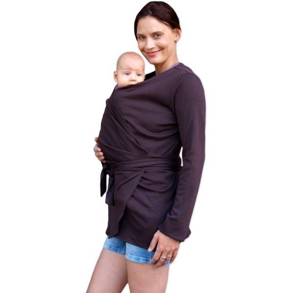 JOŽÁNEK Zavinovací kabátek pro nosící, těhotné - biobavlněný - čokoládová