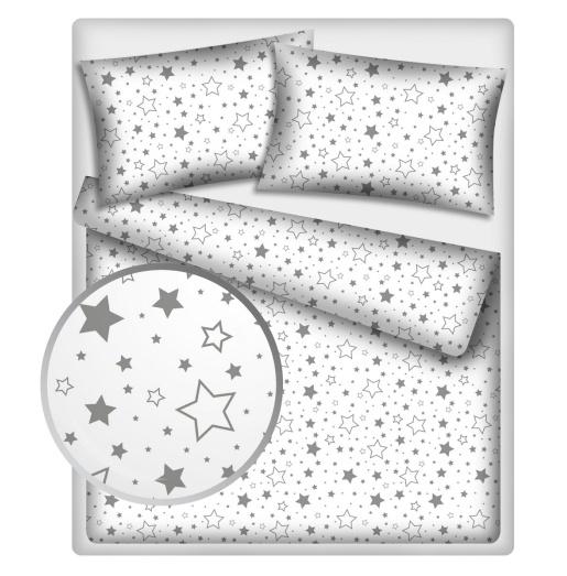 Baby Nellys Bavlněné povlečení 140 x 200,70x90cm - Šedé hvězdy a hvězdičky