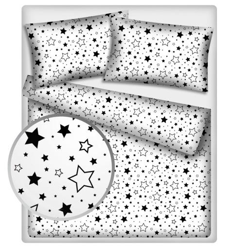 Baby Nellys Bavlněné povlečení 140 x 200,70x90cm - Černé hvězdy a hvězdičky