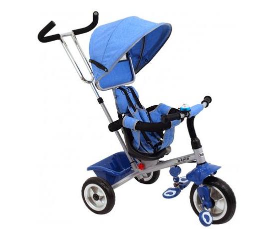 Dětská tříkolka Rapid - modrá/ stříbrný rám