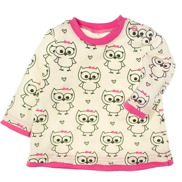 MBaby 2- dílná sada tričko dl. rukáv + tepláčky - Veselé sovičky