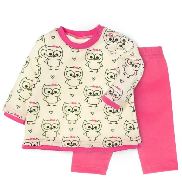 MBaby 2- dílná sada tričko dl. rukáv + tepláčky - Veselé sovičky, roz. 68