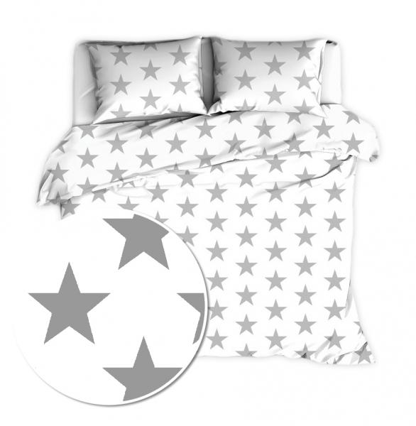 Baby Nellys 2 dílné bavlněné povlečení 140 x 200 - Big Stars - bílé