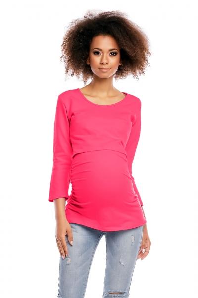 Těhotenská/kojící tunika 3/4 rukáv - růžová, L/XL, Velikost: L/XL