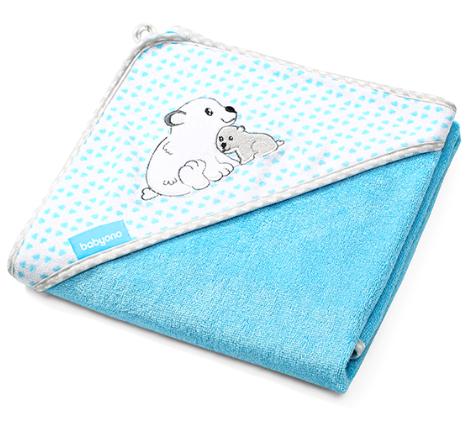 BabyOno Bambusová osuška s kapucí Medvídek - modrá