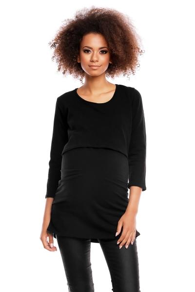 Be MaaMaa Těhotenská/kojící tunika 3/4 rukáv - černá, vel. L/XL, Velikost: L/XL