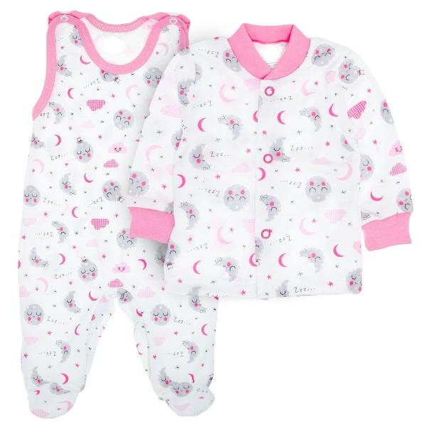 2- dílná soupravička košilka + dupačky Dobrou noc - růžová