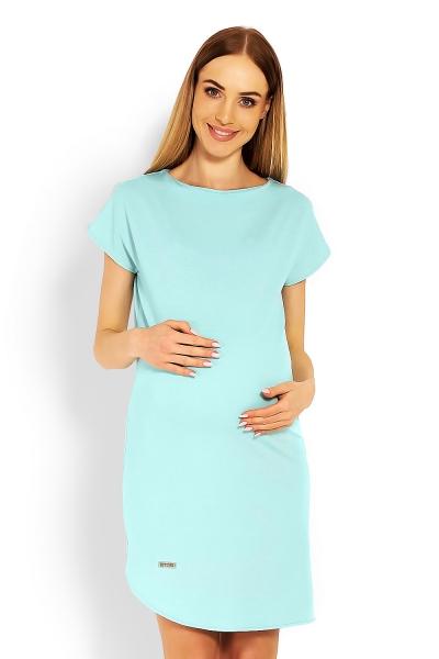 Těhotenské asymetrické šaty, kr. rukáv - mátové, vel. L/XL