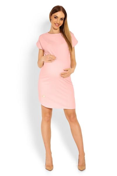 Be MaaMaa Těhotenské asymetrické šaty, kr. rukáv - sv. růžové, vel. XXL