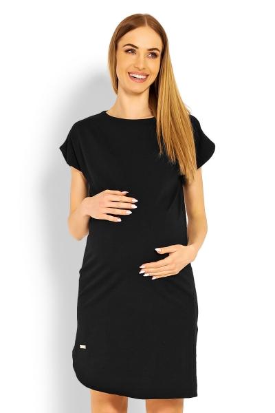 Těhotenské asymetrické šaty, kr. rukáv - černé