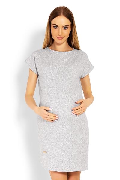 Těhotenské asymetrické šaty, kr. rukáv - šedé
