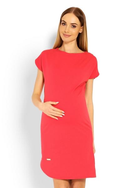 Be MaaMaa Těhotenské asymetrické šaty, kr. rukáv - korálové, vel. L/XL