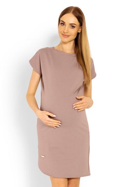 Těhotenské asymetrické šaty, kr. rukáv - cappuccino