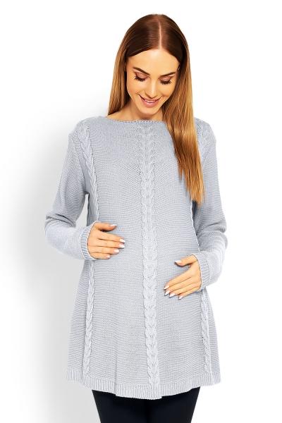 Be MaaMaa Elegantní těhotenský svetřík/tunika -  šedý