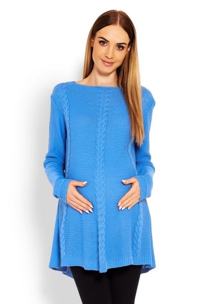 Elegantní těhotenský svetřík/tunika - jeans, Velikost: UNI