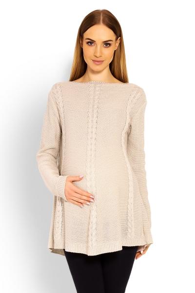 Elegantní těhotenský svetřík/tunika - béžový, Velikost: UNI