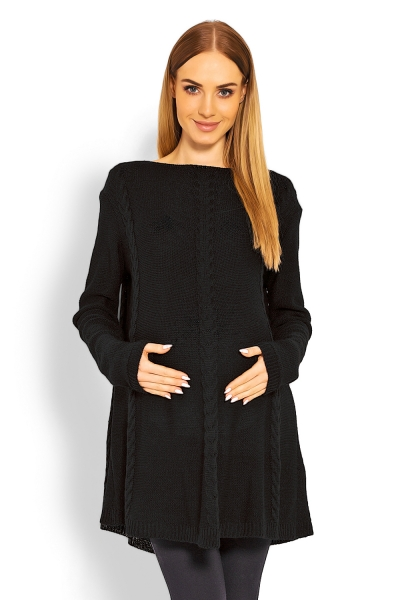 Be MaaMaa Elegantní těhotenský svetřík/tunika - černý