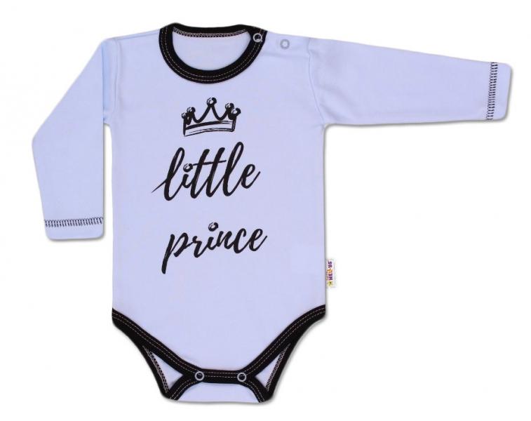 Baby Nellys Body dlouhý rukáv,  Little Prince - modré, vel. 62