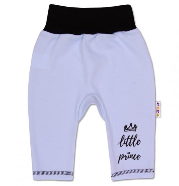 Baby Nellys Bavlněné tepláčky, Little Prince - modrével. 56 (1-2m)