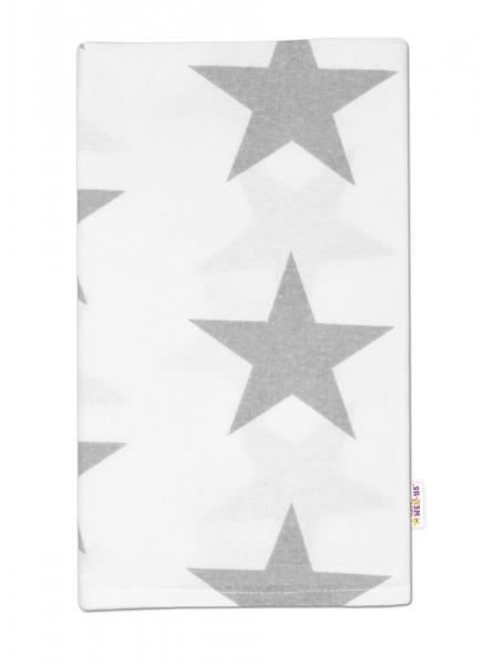 Flanelová plenka, 70x80cm - Velké hvězdy šedé na bílém