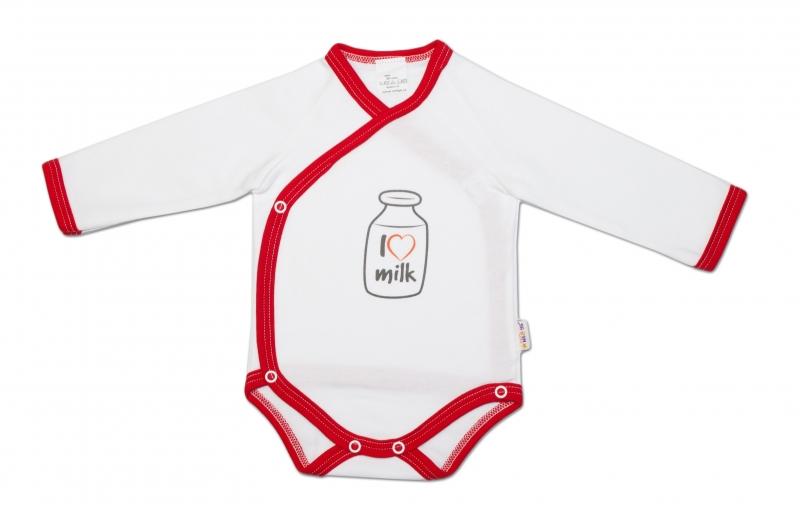 Baby Nellys Body dlouhý rukáv zapínání bokem I love milk vel.62