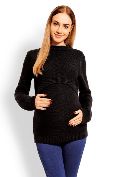 Be MaaMaa Pletený těhotenský svetřík - černý, (kojící)