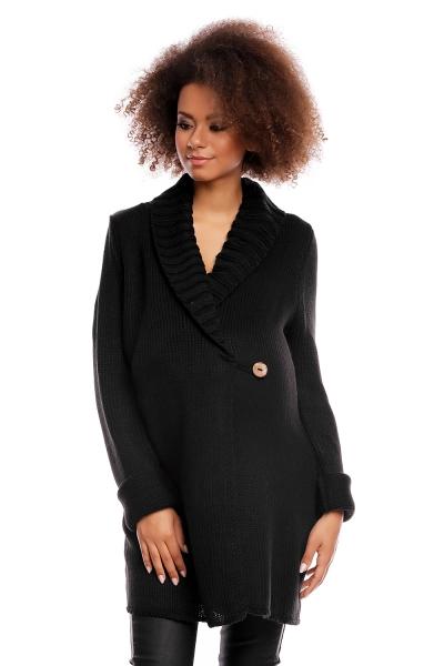 Těhotenský kardigan - černý, zapínání na knoflík, Velikost: UNI