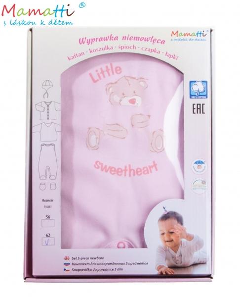 Mamatti Soupravička do porodnice v krabičce Medvídek Sweetheart, růžová, vel. 62