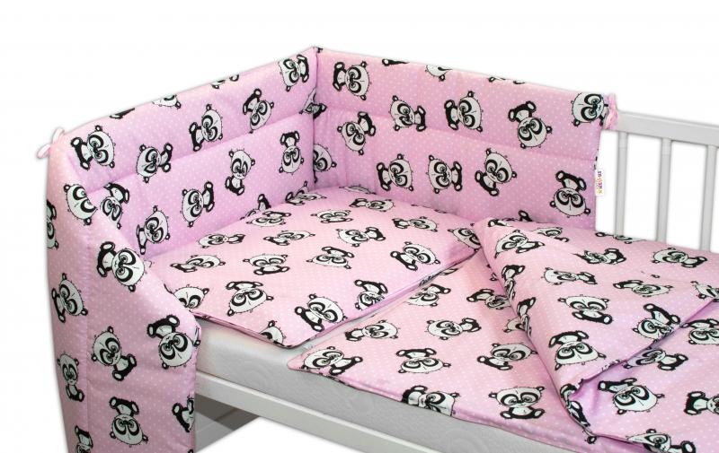 3-dílná sada mantinel s povlečením + zavinovačka zdarma - Baby Panda, růžová, D19