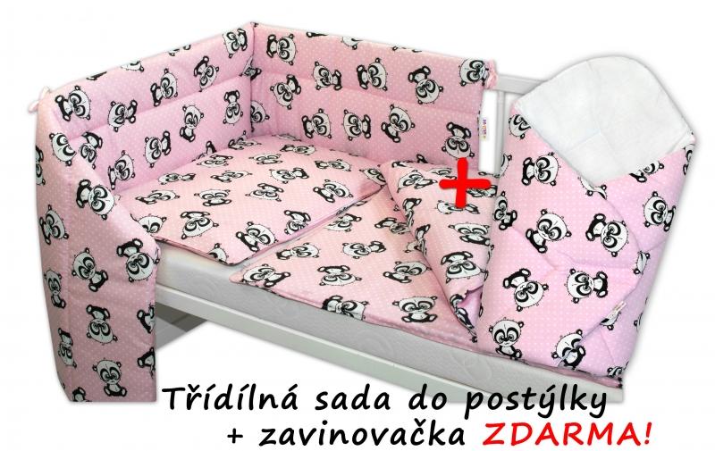 3-dílná sada mantinel s povlečením 135x100 + zavinovačka zdarma - Baby Panda, růžová