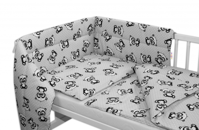 3-dílná sada mantinel s povlečením 135x100 + zavinovačka zdarma - Baby Panda, šedá