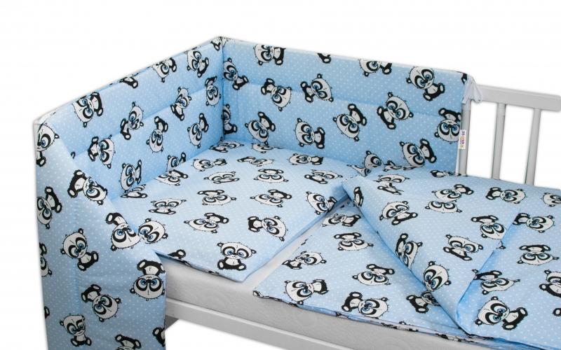 3-dílná sada mantinel s povlečením 135x100 + zavinovačka zdarma - Baby Panda, modrá