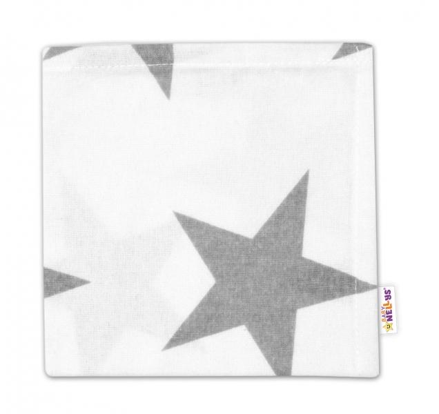 Flanelová plenka Mini, 35x35cm - Velké hvězdy šedé na bílém