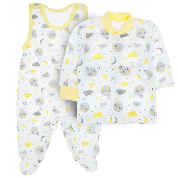 MBaby 2- dílná soupravička košilka + dupačky Dobrou noc, vel. 68 - žlutá