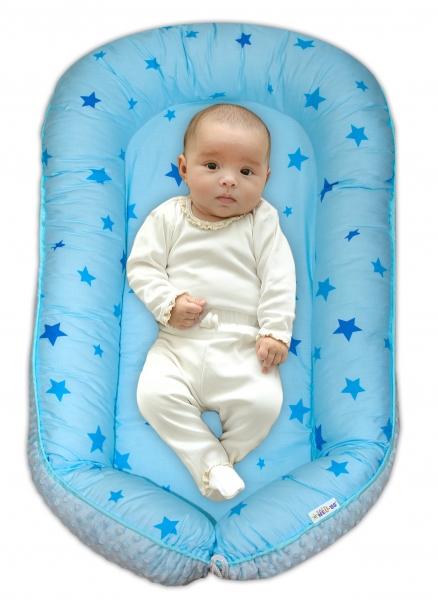 Baby Nellys maxi oboustranné hnízdečko minky Baby Stars, sv.modré minky, K19