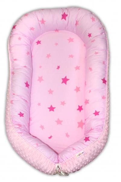 Maxi oboustranné hnízdečko s minky pro miminko Hvězdičky růžové, sv.růžová minky