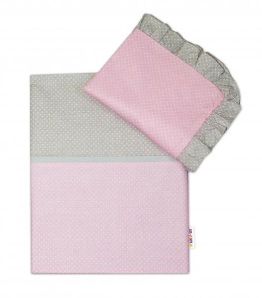 2-dílné bavlněné povlečení s volánky - růžové/ bílé tečky, šedý lem, 135x100 cm