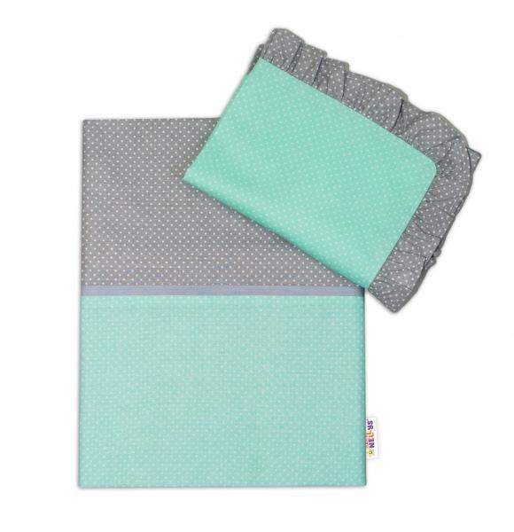 2-dílné bavlněné povlečení s volánky - mátové/ bílé tečky, šedý lem, 135x100 cm