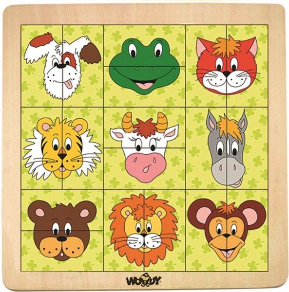 Dřevěné puzzle, vkládačka - Hlavičky zvířátek