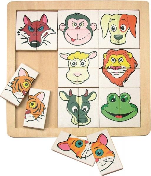 Dřevěné puzzle, vkládačka - Hlavičky zvířát