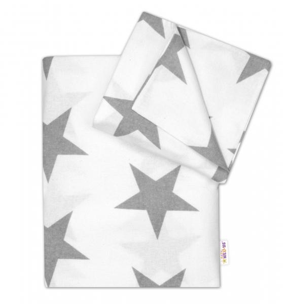 Flanelové povlečení - Velké hvězdy šedé na bílém